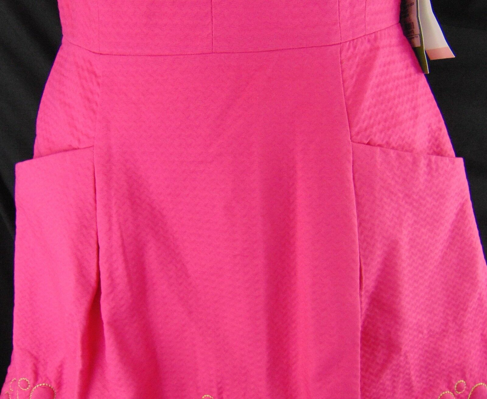 LILLY PULITZER PINK DRESS STRAPLESS, BERNADETTE gold STITCH DETAIL, DETAIL, DETAIL, SIZE 2,  248 e62d5e