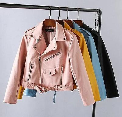 Women's leather coat spring Slim short leather motorcycle jacket coat