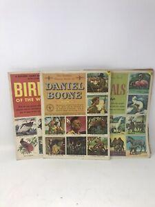 VTG-1950-039-s-LOT-of-3-GOLDEN-PLAY-Classic-Stamp-BOOKS-Animals-Birds-Daniel-Boon