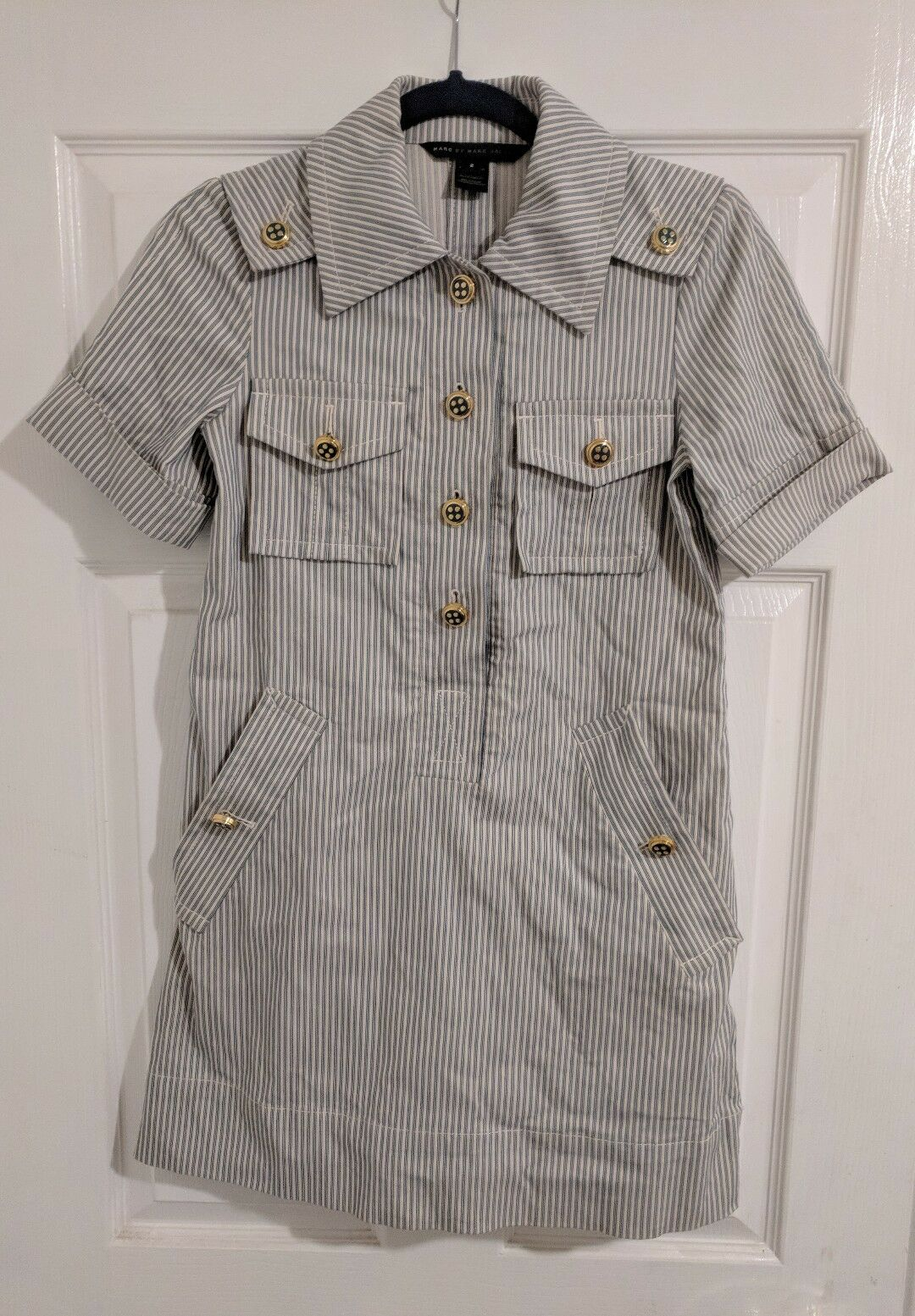 Marc by Marc Jacobs Dress 2 Striped Nautical Cotton Blend bluee Cream