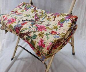 Indian-Handmade-Kantha-Quilt-Vintage-Queen-Size-Bedspread-Throw-Cotton-Blanket
