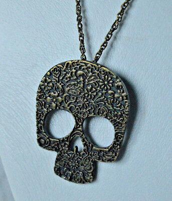 Diamante Crystal SKULL Pendant Charm Statement Necklace Steam Punk Gothic