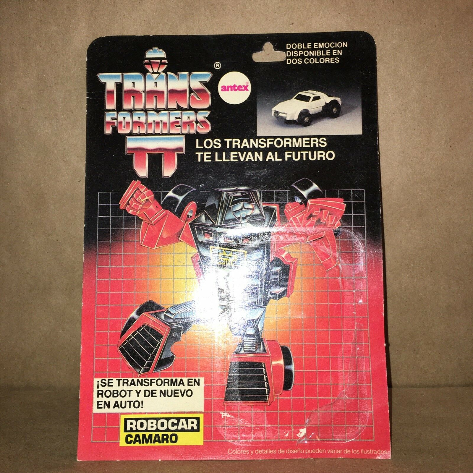 VTG Argentina Hasbro Transformers Throttlebot Camaro 1982 Action Figure Card