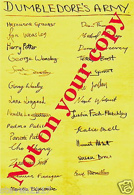 HARRY POTTER--POSTER OF DUMBLEDORES ARMY STUDENTS SIGNATURES