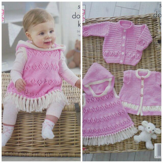 Knitting Pattern Baby Cardigan Angel Top Bonnet /& Blanket King Cole DK 4689