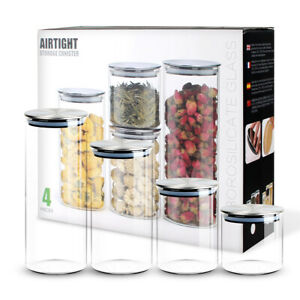 Airtight-4-Pcs-Food-Storage-Containers-Kitchen-Glass-Cereal-Jars-with-Metal-Lids