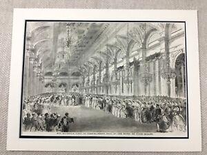 1855-Print-Hotel-De-Ville-Mairie-de-Paris-France-Grand-Ball-Original-Antique
