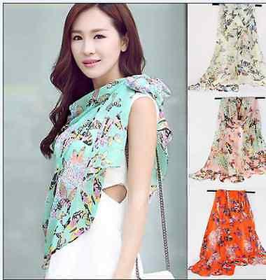 Women Lady Chiffon Butterfly Print Neck Shawl Scarf Scarves Wrap Stole Warm Gift