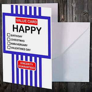 Tesco Value Novelty Card Christmas Birthday Anniversary Greetings