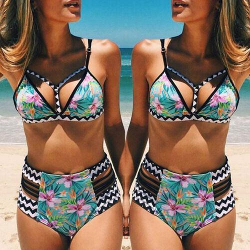 Womens High Waist Bikini Set Beach Wear Swimwear Swimsuit UK 8-16