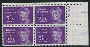 US-Scott-1236-Plate-Block-27605-1963-Eleanor-Roosevelt-5c-FVF-MNH-Upper-Right