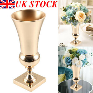 43CM Large Stunning Iron Luxury Flower Vase Urn Wedding Table Decor Gift Golden