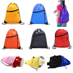 Zipper-Drawstring-Bag-Sports-Swim-Gym-Sack-PE-School-Backpack-Shoulder-Bag-Pack