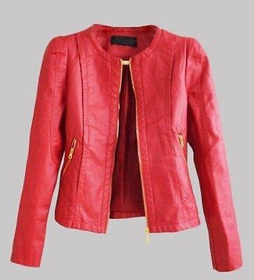 Hot Women's Short Slim motorcycle leather jacket casual jackets coat