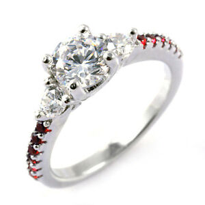 Image Is Loading Thin Red Line Engagement Ring Sterling Silver Round