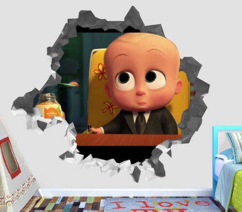 The Boss Baby Smashed Wall Decal 3D Sticker Decor Art Vinyl Smash Disney OP52