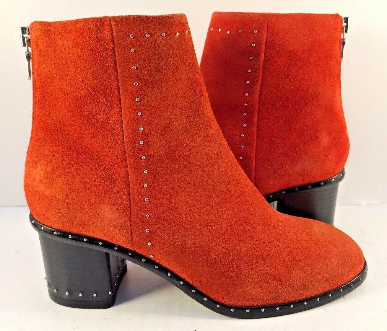 Rag & Bone Red Suede Willow Ankle Booties Womens Size M NWD