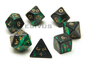 Dice Oblivion Black Green 7pc Marble Set D20 D10 D6 Ebay