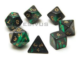 Dice Oblivion Black Green 7pc Marble Set D20 D10 D6 Ebay