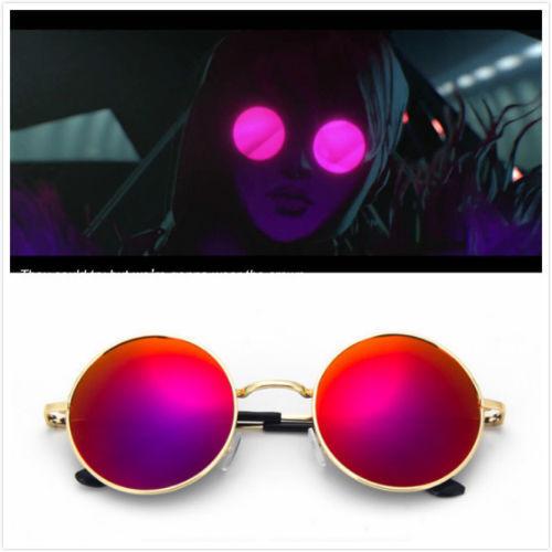 LOL KDA Evelynn K//DA S8 Costume Round Metal Frame Glasses Lens Cosplay Prop Gift