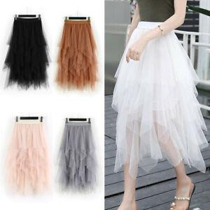 Women-High-Waist-Ruffle-Mesh-Tutu-Maxi-Skirt-Sheer-Net-Tulle-Pleated-Maxi-Dress