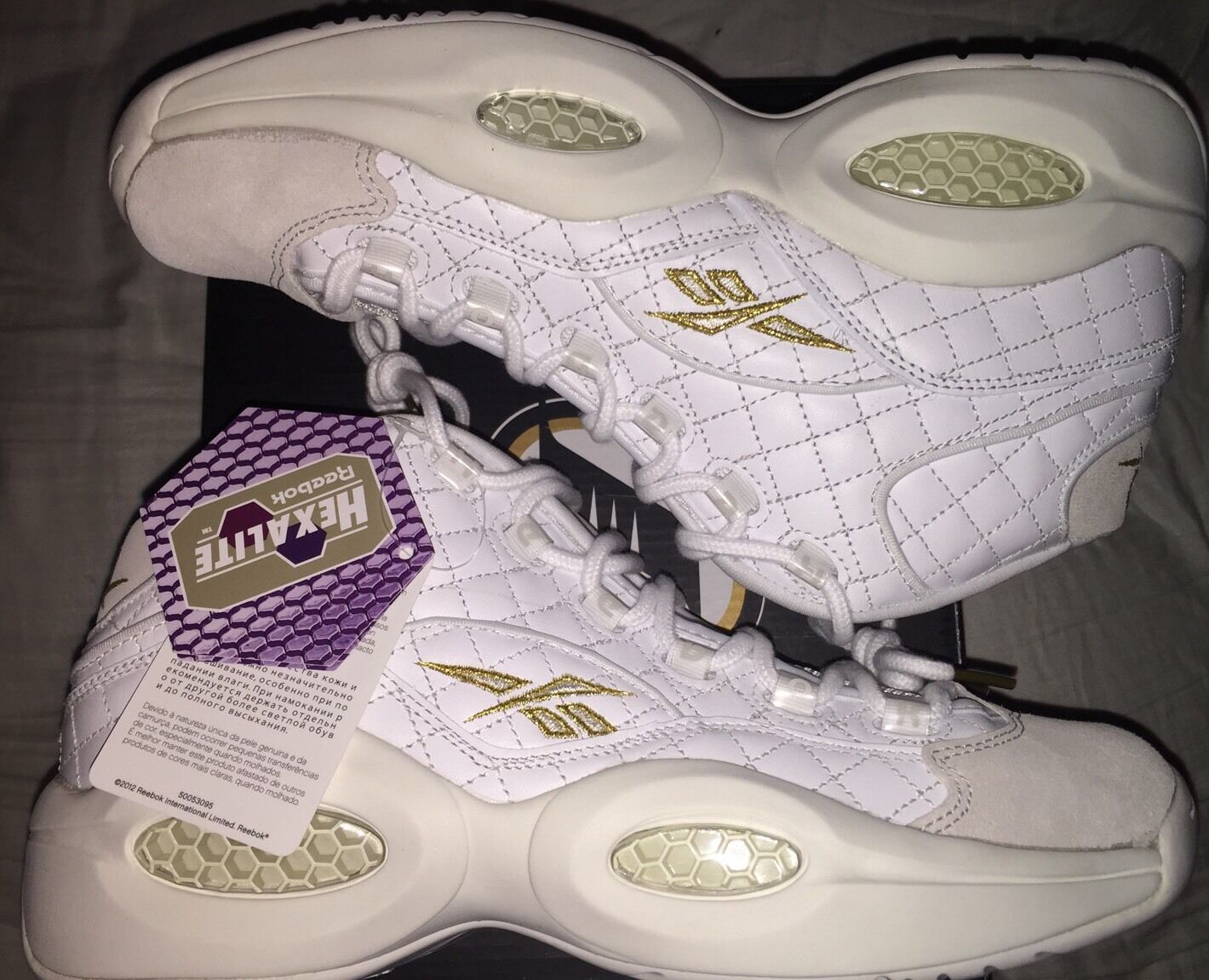Reebok Classics Basketball Iverson Mid Questions Quilted White Party Size Uomo Size Party 9 a0022d
