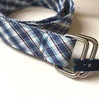 Brooks Brothers 346 Mens Blue White Plaid D-ring Belt 100% Cotton Preppy