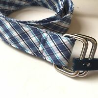 Brooks Brothers 346 Mens Blue White Plaid D-ring Belt 100% Cotton Preppy