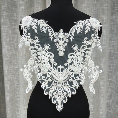 Bridal Dress Lace Motif 3D Embroidery Wedding Gown Trim Beaded Lace Applique 1PC