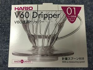Hario-V60-01-Coffee-Dripper-Clear-VD-01T-For-1-2-Cups-MADE-IN-JAPAN