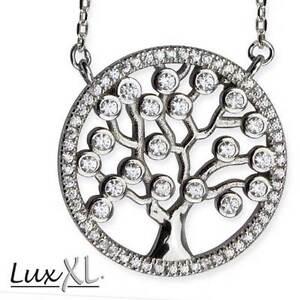 Echt-LuxXL-Tree-Of-Life-Lebensbaum-Anhaenger-Zirkonia-925er-Silber-Neu