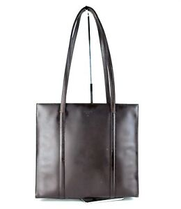 64f6aad65 Image is loading Authentic-Prada-Milano-Dark-Brown-Patent-Leather-Tote-