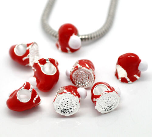 10 Perles Argenté Charms Bonnet Noël Email pr Bracelet Charms 12x11mm