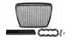 RS6-Look-Style-Front-Grill-Black-Mesh-Honeycomb-Grille-Audi-A6-4F-C6-S6-S-line