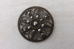 1906 Art Nouveau Solid Silver Button Repousse Maiden Profile J Gloster #A1