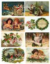 Vintage Postcard Stickers Vintage Victorian Christmas Santa Angels 16 Total
