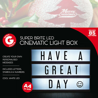 A4 Light Up DEL cinématique Boîte aux lettres Noël SIGNE MARIAGE FÊTE CINEMA plaque Shop