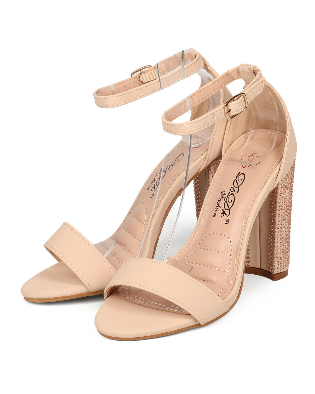 New Women DbDk Ariana-1 Open Toe Rhinestone Block Block Block Heel Ankle Strap Sandal b21cad