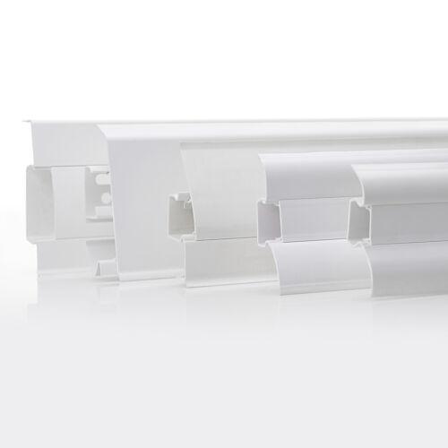 2,5m Fussleisten 52mm 62mm 70mm 75mm Sockelleiste Weiß Kunststoff Kabelkanal PVC