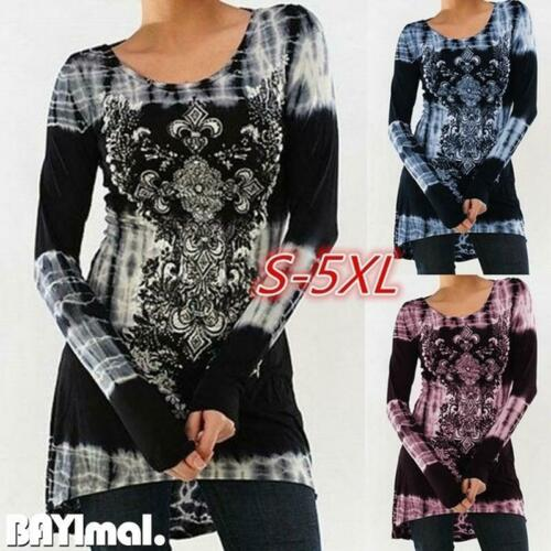 Plus Size Women Floral Long Sleeve T Shirt Ladies Casual Loose Tunic Tops Blouse