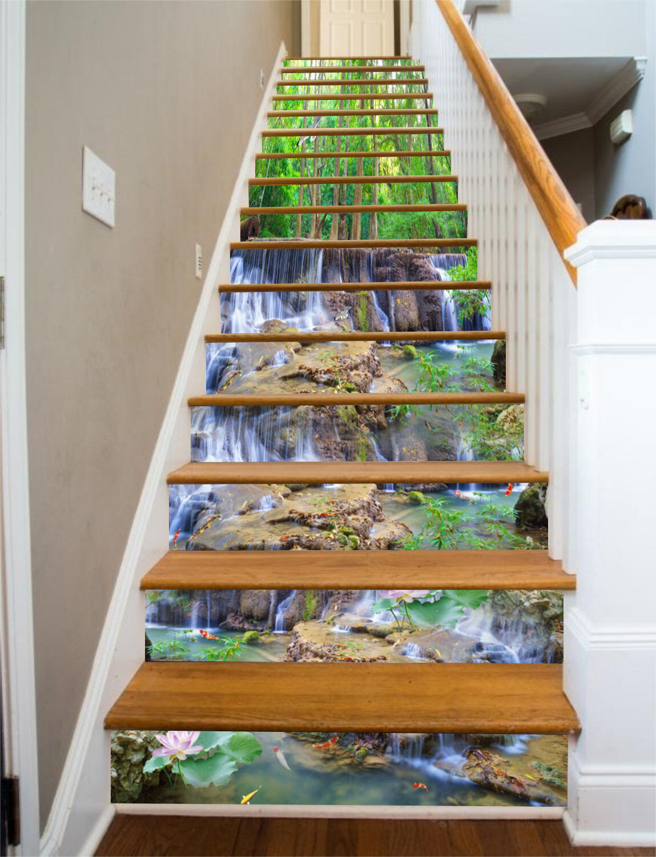 3D Stein-Fluss 276 Stair Risers Dekoration Fototapete Vinyl Aufkleber Tapete DE