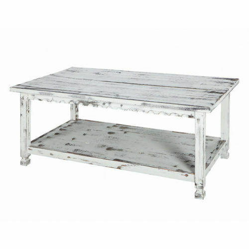 Rustic Country Reclaimed Wood Coffee Table With Shelf 42