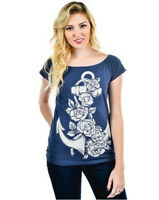 Too Fast Lover Lane Rose Anchor Shirt Top Punk Open Heart Back Nautical