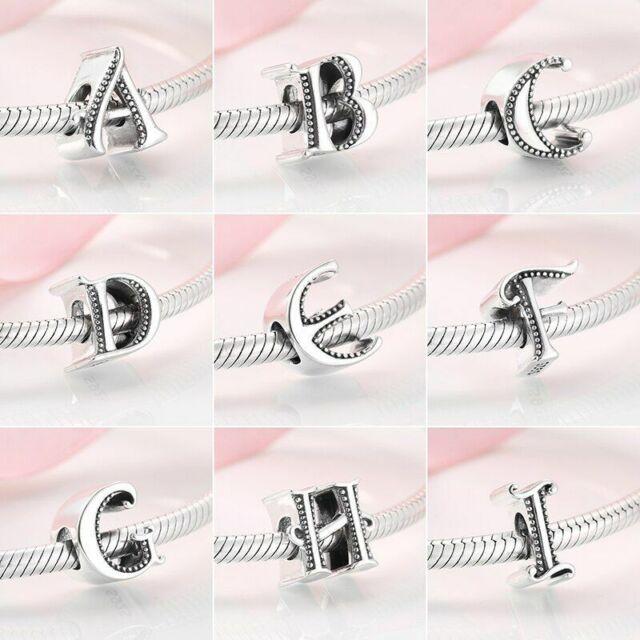 Pendentif Charms Pour Européen Bracelet Argent Véritable 925 Perle Lettre A À Z