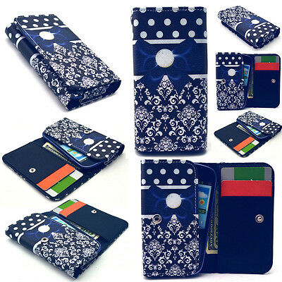 Blue Butterfly Knot Card Wallet Case Cover For Phone Samsung LG Sony Huawei