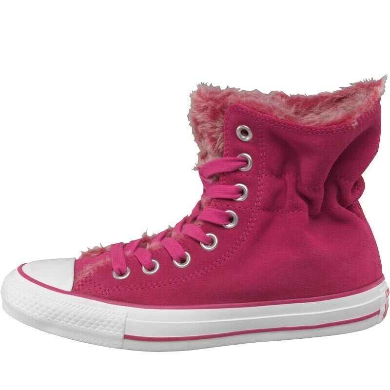Converse CT All Star Hi Scrunched Fur Trainers, Pink, UK 5.5 EU 38, BNIB