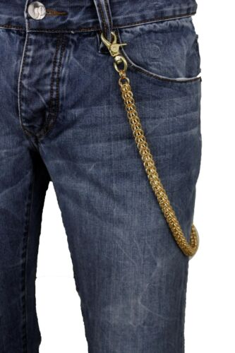 Men Gold Metal Key Wallet Chain Multi Ring Links Jeans Holder Biker Westen Style