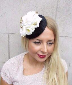 Black Gold Ivory Cream Velvet Rose Berry Flower Fascinator Hat Hair Clip 2591