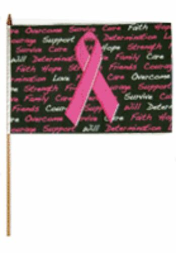 "12x18 12/""x18/"" Wholesale Lot of 6 Breast Cancer Black Stick pink ribbon Flag"