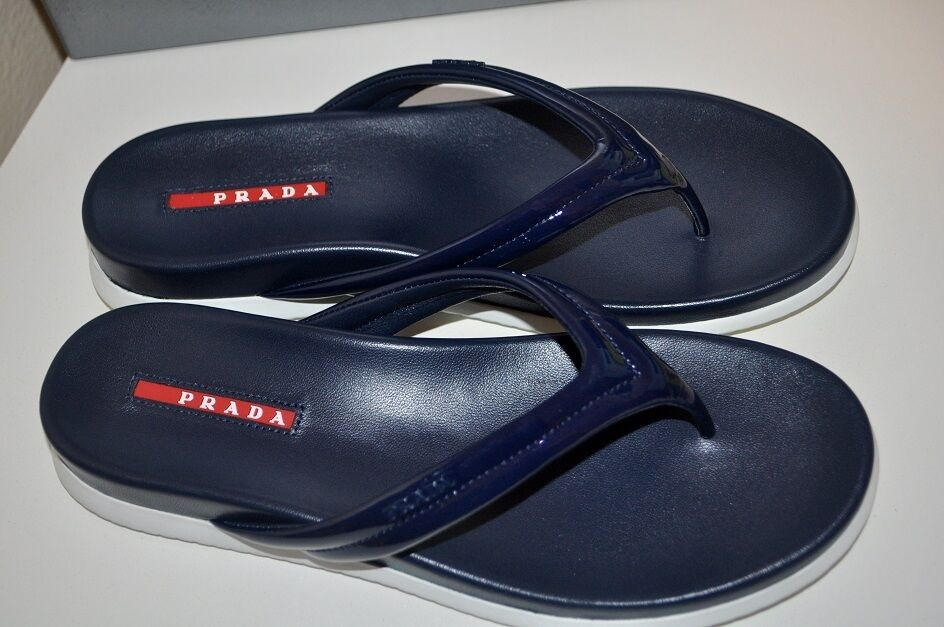 NIB  450+ PRADA Sport Logo Leather Flip Flop Flat Thong Sandal Royal bleu 11.5